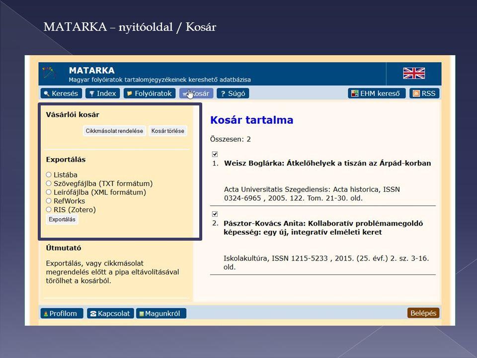 MATARKA – nyitóoldal / Kosár