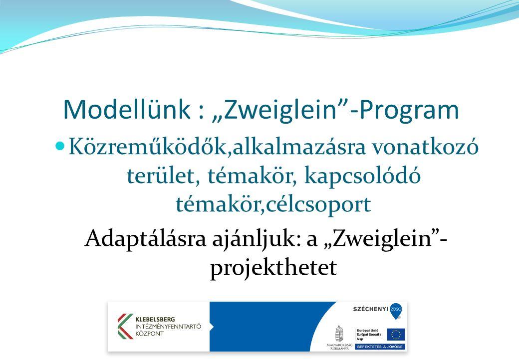"""Közreműködők,alkalmazásra vonatkozó terület, témakör, kapcsolódó témakör,célcsoport Adaptálásra ajánljuk: a """"Zweiglein - projekthetet Modellünk : """"Zweiglein -Program"""