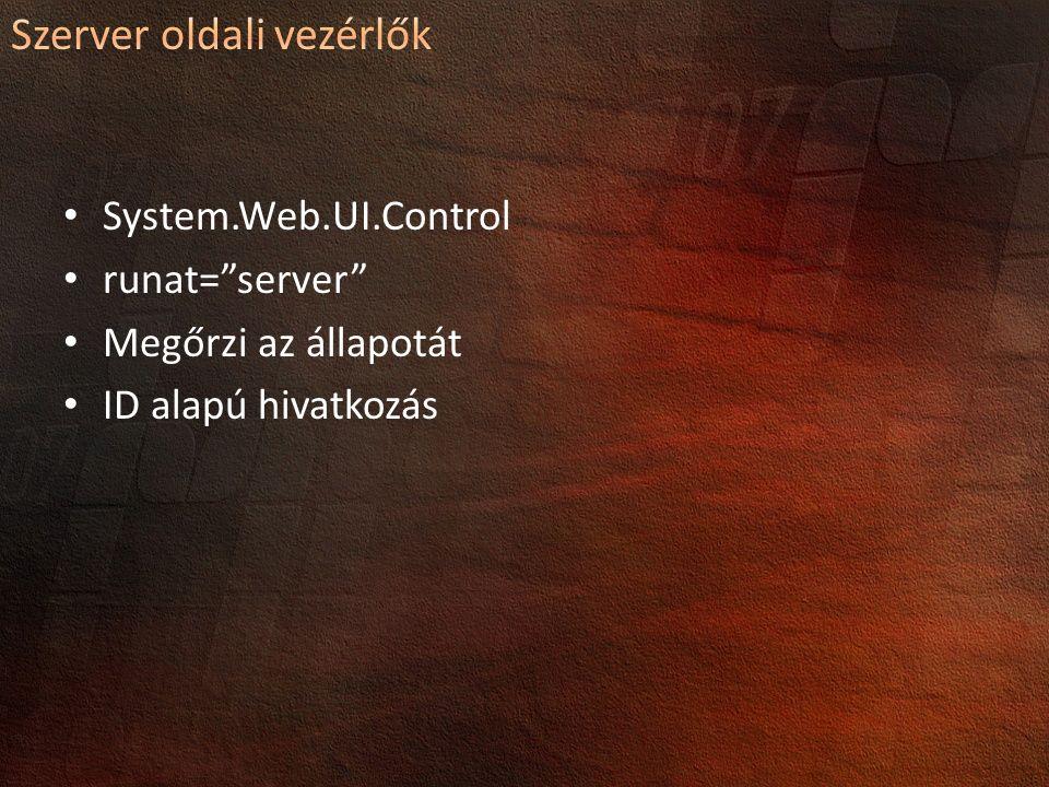 System.Web.UI.Control runat= server Megőrzi az állapotát ID alapú hivatkozás