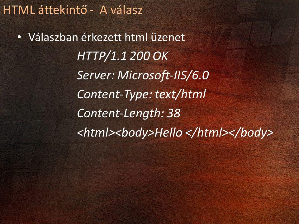 Válaszban érkezett html üzenet HTTP/1.1 200 OK Server: Microsoft-IIS/6.0 Content-Type: text/html Content-Length: 38 Hello