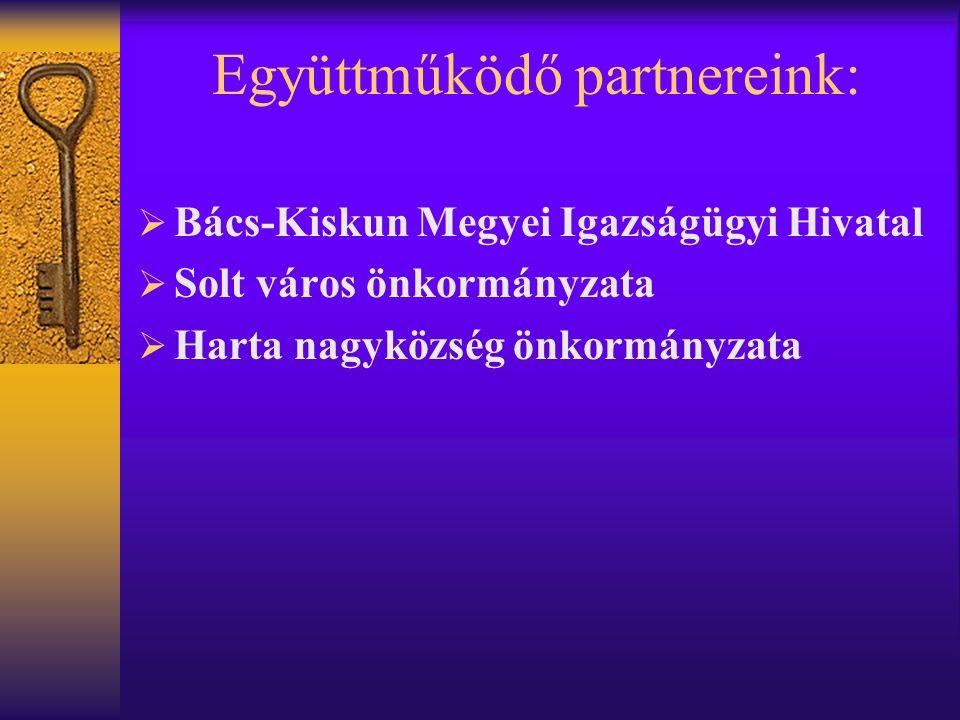 Együttműködő partnereink:  Bács-Kiskun Megyei Igazságügyi Hivatal  Solt város önkormányzata  Harta nagyközség önkormányzata