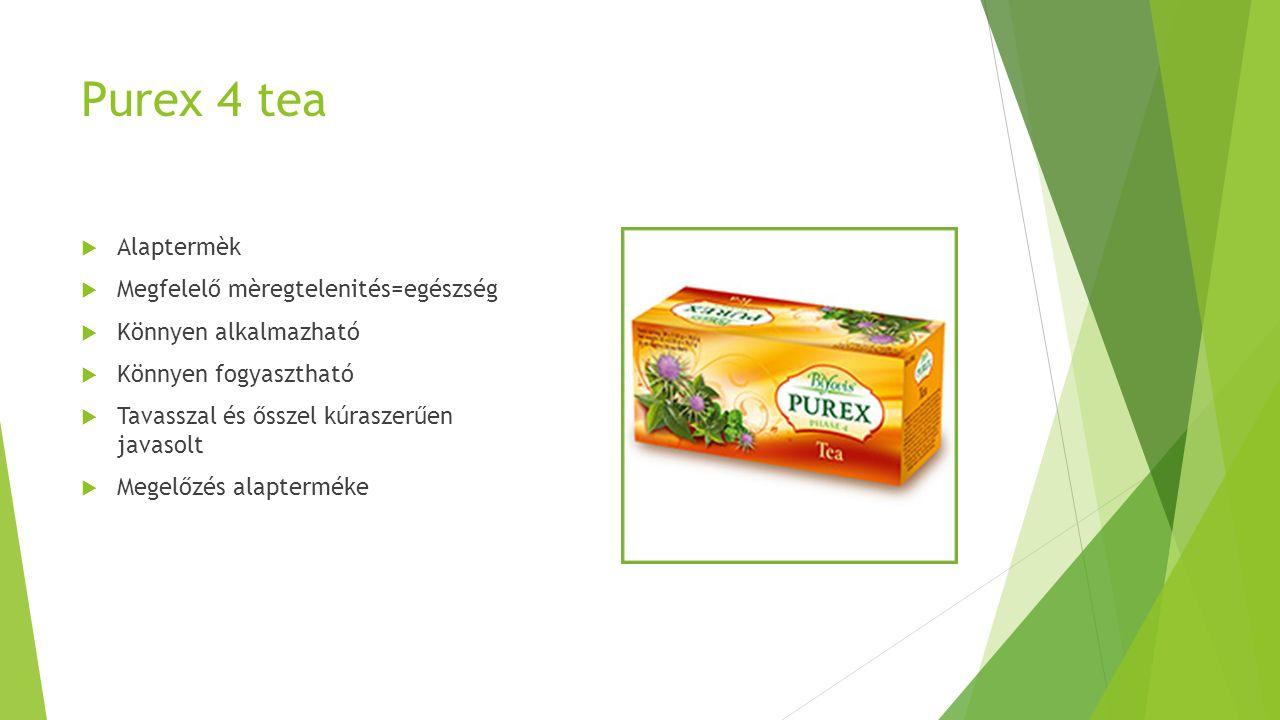 Purex 4 tea  Alaptermèk  Megfelelő mèregtelenités=egészség  Könnyen alkalmazható  Könnyen fogyasztható  Tavasszal és ősszel kúraszerűen javasolt  Megelőzés alapterméke