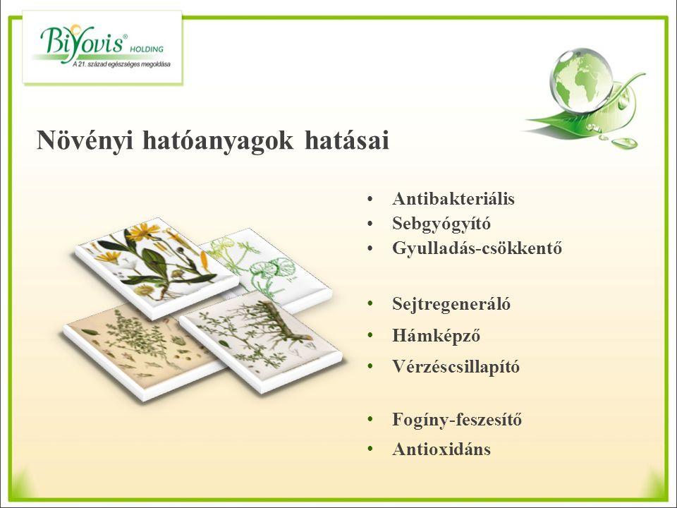 Antibakteriális Sebgyógyító Gyulladás-csökkentő Sejtregeneráló Hámképző Vérzéscsillapító Fogíny-feszesítő Antioxidáns Növényi hatóanyagok hatásai