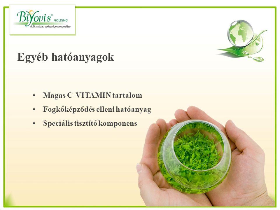 Egyéb hatóanyagok Magas C-VITAMIN tartalom Fogkőképződés elleni hatóanyag Speciális tisztító komponens