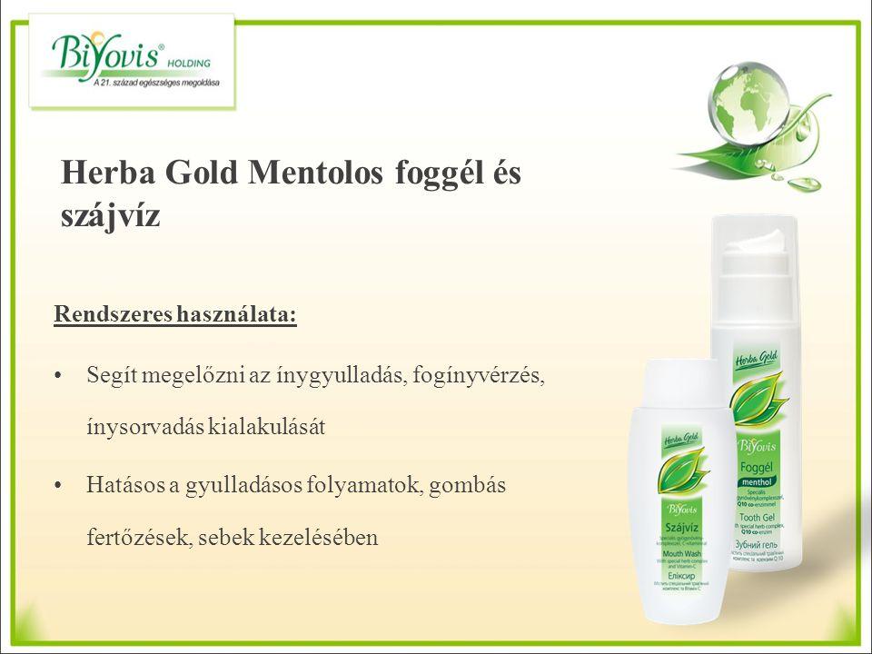 Herba Gold Mentolos foggél és szájvíz Rendszeres használata: Segít megelőzni az ínygyulladás, fogínyvérzés, ínysorvadás kialakulását Hatásos a gyullad