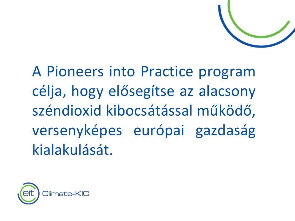 2 A Pioneers into Practice program célja, hogy elősegítse az alacsony széndioxid kibocsátással működő, versenyképes európai gazdaság kialakulását.