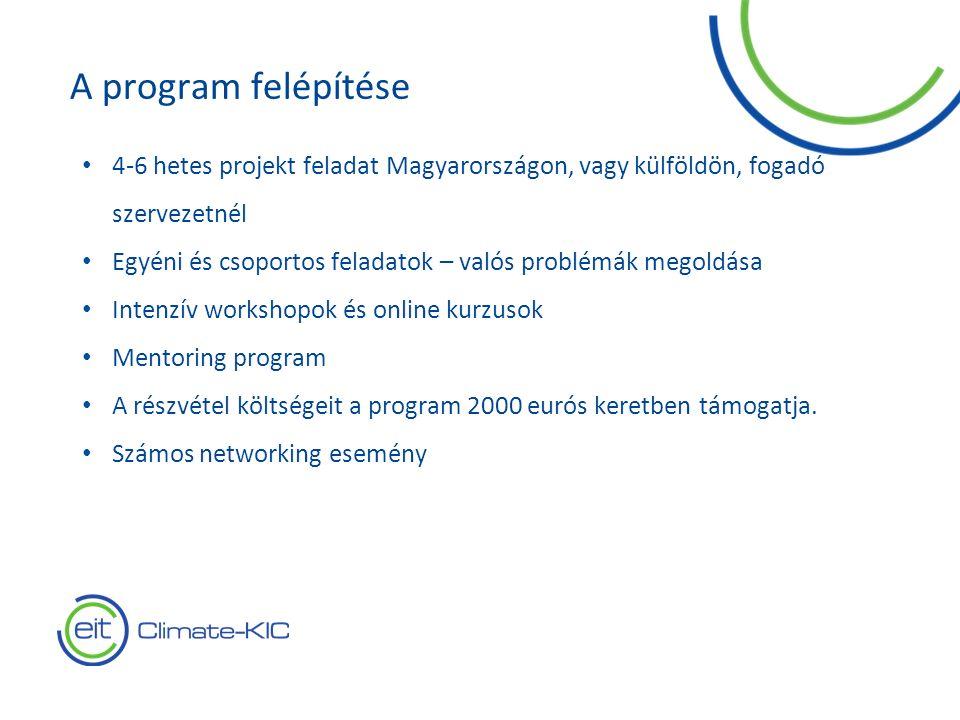 4 4-6 hetes projekt feladat Magyarországon, vagy külföldön, fogadó szervezetnél Egyéni és csoportos feladatok – valós problémák megoldása Intenzív workshopok és online kurzusok Mentoring program A részvétel költségeit a program 2000 eurós keretben támogatja.