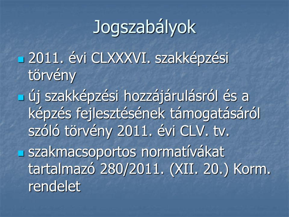 Jogszabályok 2011. évi CLXXXVI. szakképzési törvény 2011. évi CLXXXVI. szakképzési törvény új szakképzési hozzájárulásról és a képzés fejlesztésének t