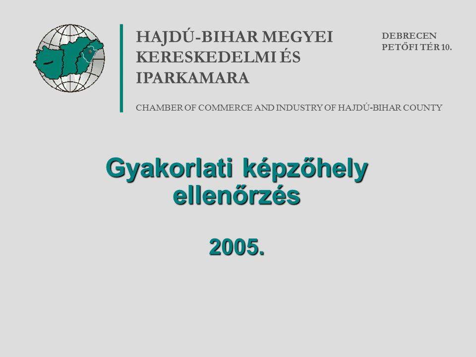 Gyakorlati képzőhely ellenőrzés 2005. HAJDÚ-BIHAR MEGYEI KERESKEDELMI ÉS IPARKAMARA CHAMBER OF COMMERCE AND INDUSTRY OF HAJDÚ-BIHAR COUNTY DEBRECEN PE