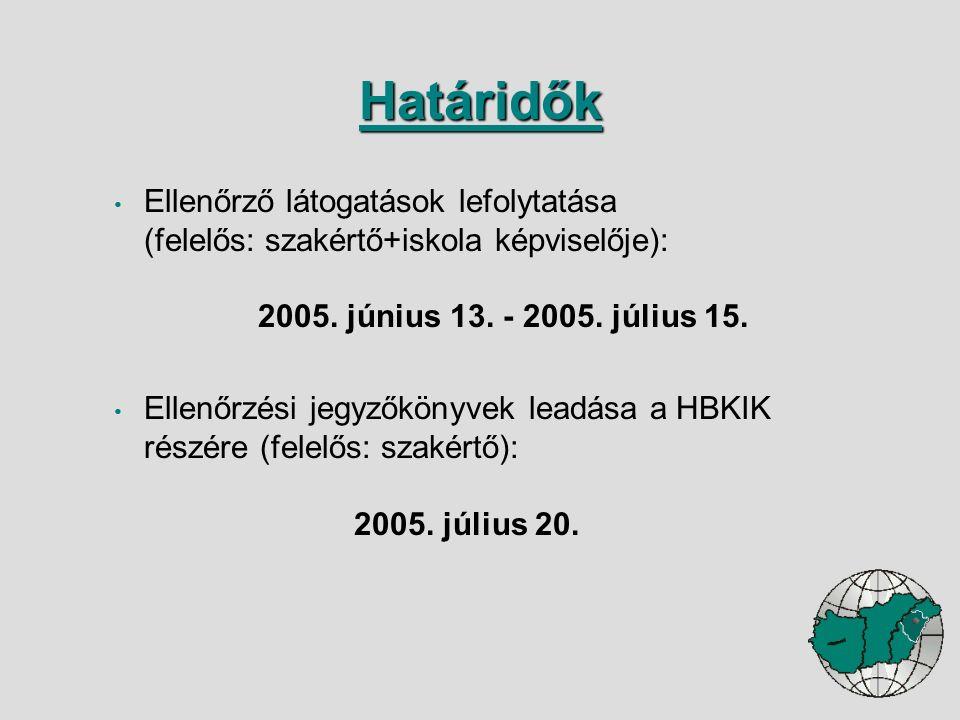 Ellenőrző látogatások lefolytatása (felelős: szakértő+iskola képviselője): 2005. június 13. - 2005. július 15. Ellenőrzési jegyzőkönyvek leadása a HBK