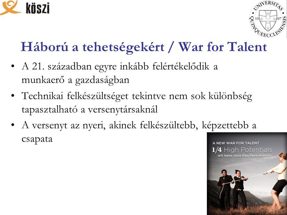 Háború a tehetségekért / War for Talent A 21. században egyre inkább felértékelődik a munkaerő a gazdaságban Technikai felkészültséget tekintve nem so