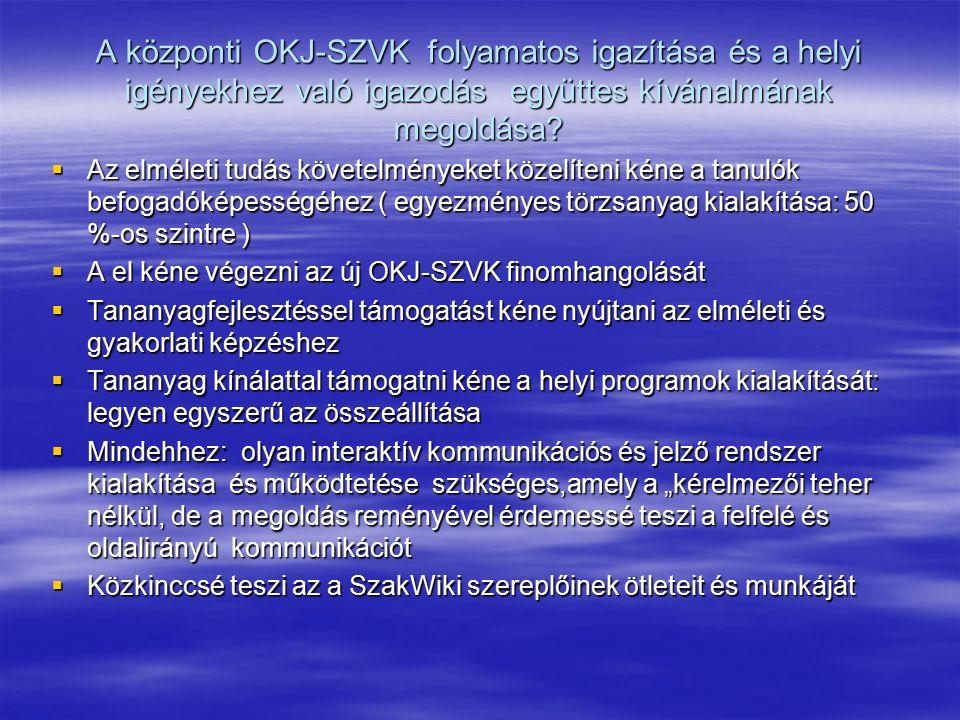 A központi OKJ-SZVK folyamatos igazítása és a helyi igényekhez való igazodás együttes kívánalmának megoldása.
