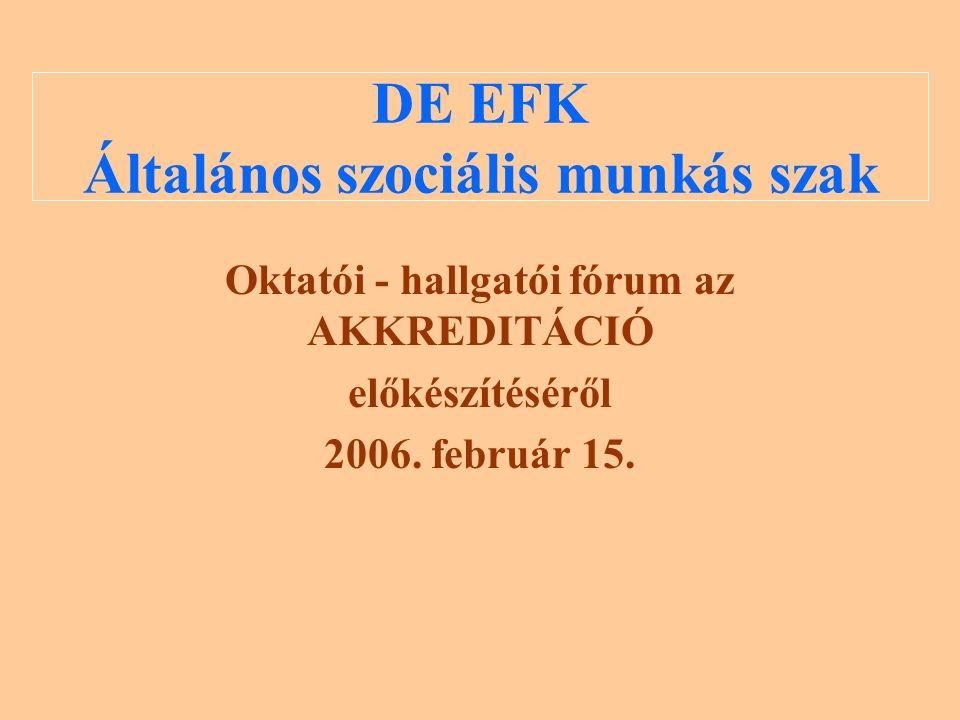 DE EFK Általános szociális munkás szak Oktatói - hallgatói fórum az AKKREDITÁCIÓ előkészítéséről 2006.