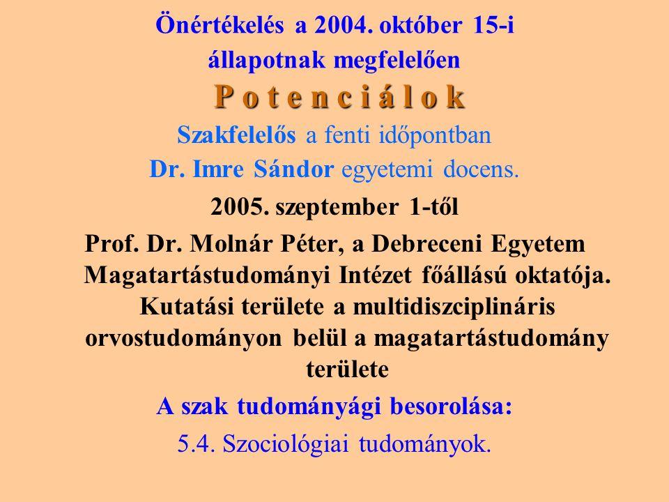 P o t e n c i á l o k Önértékelés a 2004.