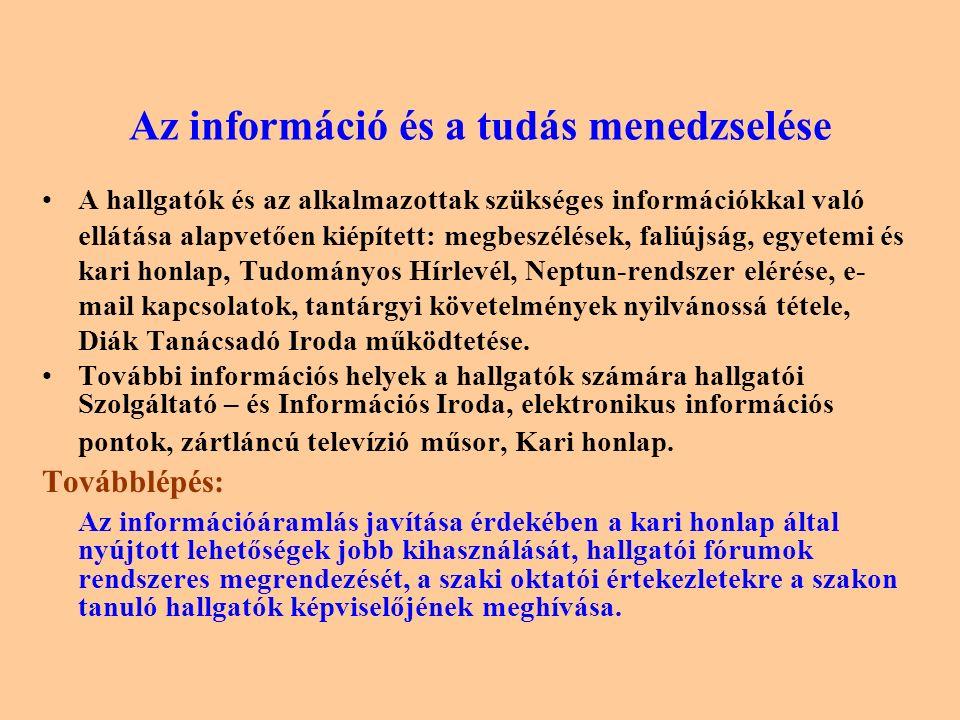 Az információ és a tudás menedzselése A hallgatók és az alkalmazottak szükséges információkkal való ellátása alapvetően kiépített: megbeszélések, faliújság, egyetemi és kari honlap, Tudományos Hírlevél, Neptun-rendszer elérése, e- mail kapcsolatok, tantárgyi követelmények nyilvánossá tétele, Diák Tanácsadó Iroda működtetése.