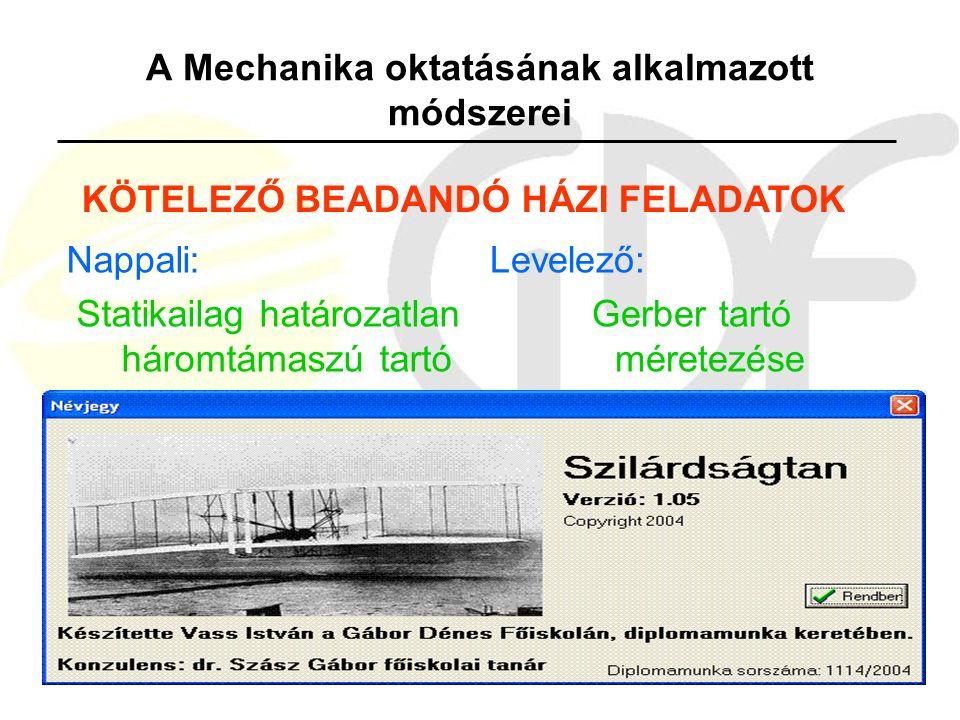 A Mechanika oktatásának alkalmazott módszerei Nappali: Statikailag határozatlan háromtámaszú tartó Levelező: Gerber tartó méretezése KÖTELEZŐ BEADANDÓ HÁZI FELADATOK