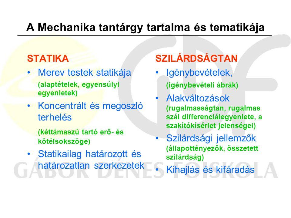 A Mechanika tantárgy tartalma és tematikája STATIKA Merev testek statikája (alaptételek, egyensúlyi egyenletek) Koncentrált és megoszló terhelés (kéttámaszú tartó erő- és kötélsokszöge) Statikailag határozott és határozatlan szerkezetek SZILÁRDSÁGTAN Igénybevételek, (igénybevételi ábrák) Alakváltozások (rugalmasságtan, rugalmas szál differenciálegyenlete, a szakítókísérlet jelenségei) Szilárdsági jellemzők (állapottényezők, összetett szilárdság) Kihajlás és kifáradás
