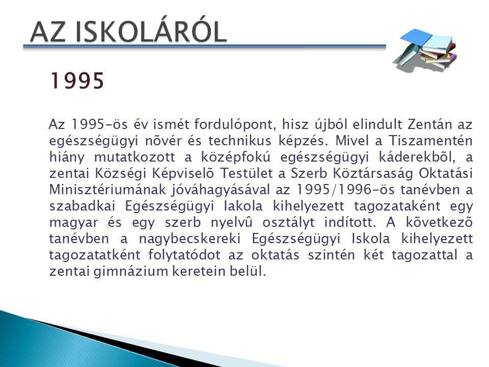 1995 Az 1995-ös év ismét fordulópont, hisz újból elindult Zentán az egészségügyi nõvér és technikus képzés.