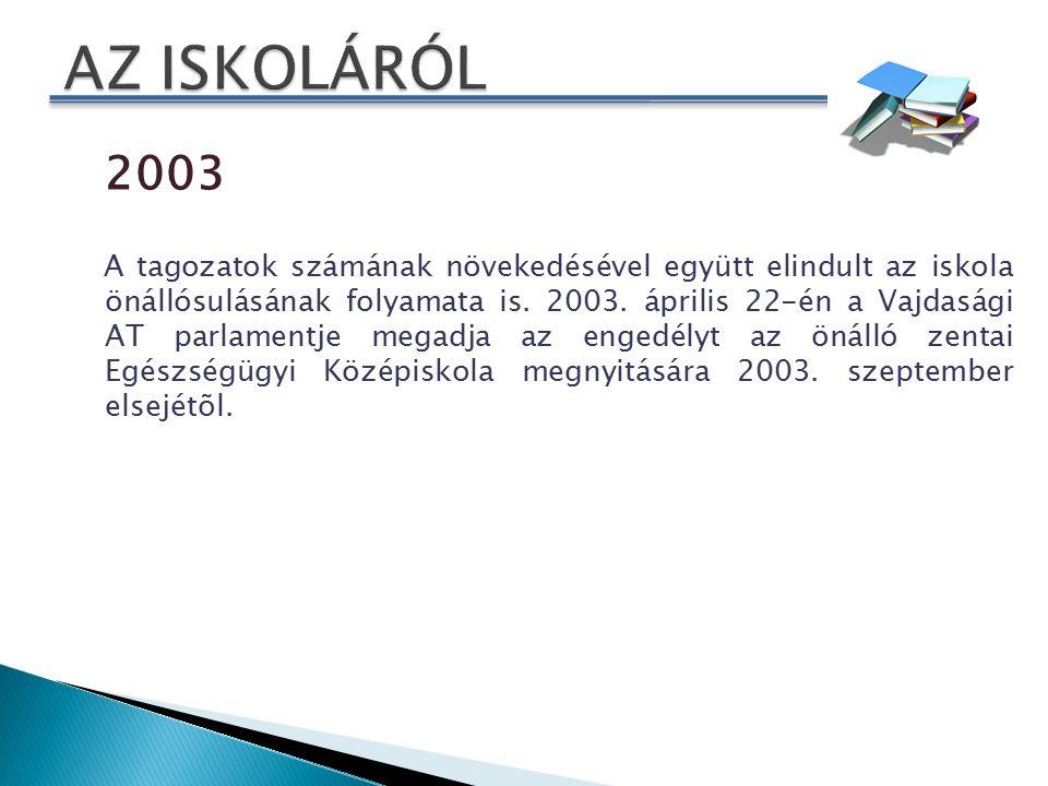 2003 A tagozatok számának növekedésével együtt elindult az iskola önállósulásának folyamata is.