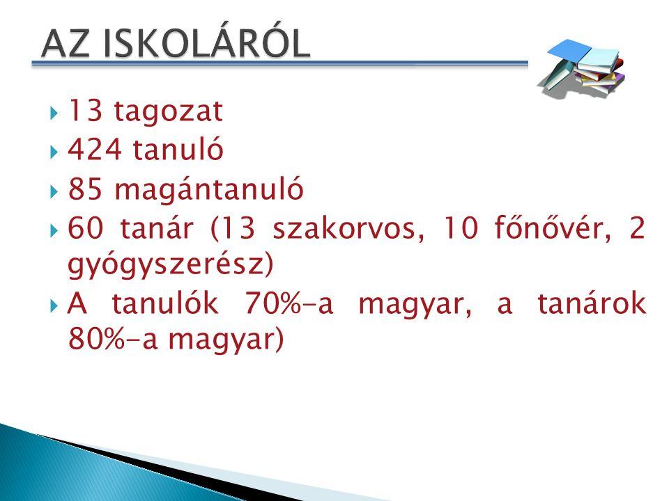  13 tagozat  424 tanuló  85 magántanuló  60 tanár (13 szakorvos, 10 főnővér, 2 gyógyszerész)  A tanulók 70%-a magyar, a tanárok 80%-a magyar)