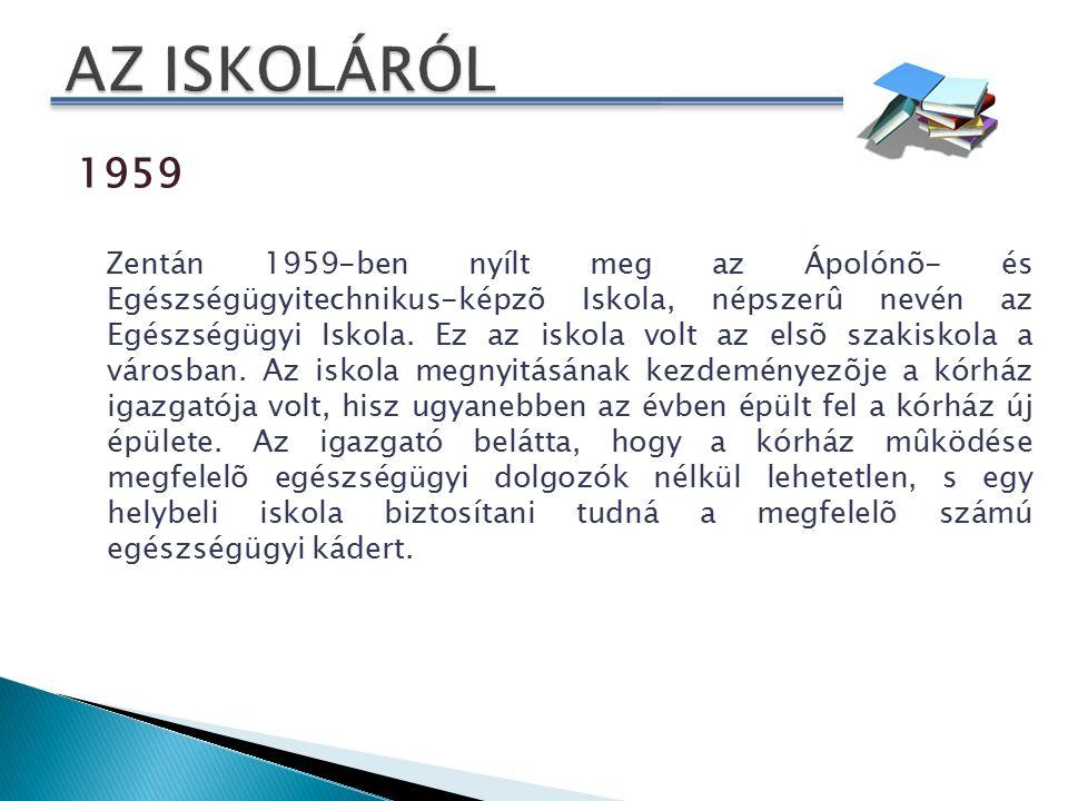 1962 Az elsõ generáció 1962-ben érettségizett és a zentai egészségügyi intézményekben kapott munkát mint az elsõ szakképesítéssel rendelkezõ egészségügyi dolgozó 1983 24 sikeres év után, 1983-ban a zentai községi vezetés megszünteti az iskolát.