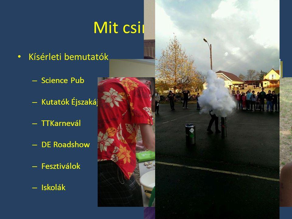 Mit csinálunk? Kísérleti bemutatók – Science Pub – Kutatók Éjszakája – TTKarnevál – DE Roadshow – Fesztiválok – Iskolák