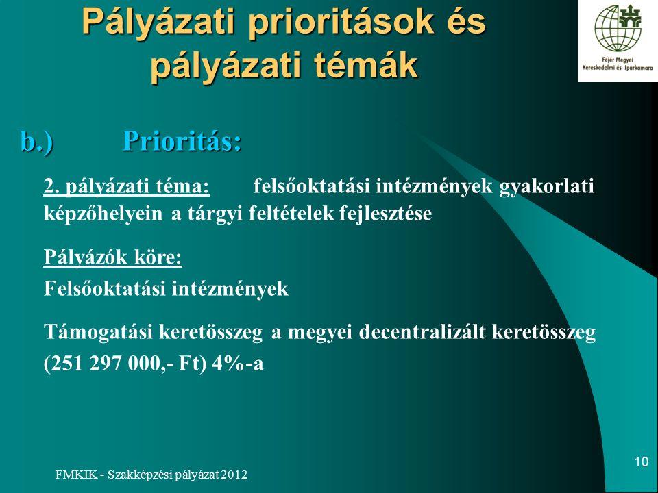 FMKIK - Szakképzési pályázat 2012 Pályázati prioritások és pályázati témák b.)Prioritás: b.)Prioritás: 2.