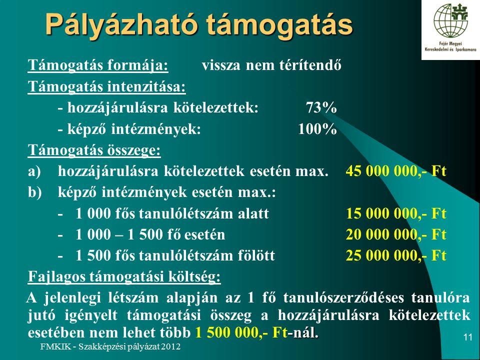 FMKIK - Szakképzési pályázat 2012 Pályázható támogatás Támogatás formája:vissza nem térítendő Támogatás intenzitása: - hozzájárulásra kötelezettek: 73% - képző intézmények:100% Támogatás összege: a)hozzájárulásra kötelezettek esetén max.45 000 000,- Ft b)képző intézmények esetén max.: - 1 000 fős tanulólétszám alatt15 000 000,- Ft - 1 000 – 1 500 fő esetén20 000 000,- Ft - 1 500 fős tanulólétszám fölött25 000 000,- Ft Fajlagos támogatási költség: -nál.