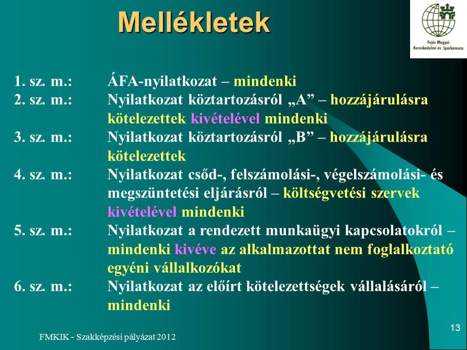 FMKIK - Szakképzési pályázat 2012Mellékletek 1. sz.