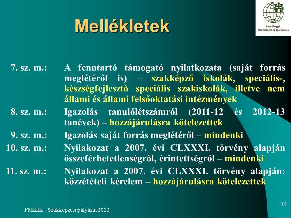 FMKIK - Szakképzési pályázat 2012 Mellékletek 7. sz.