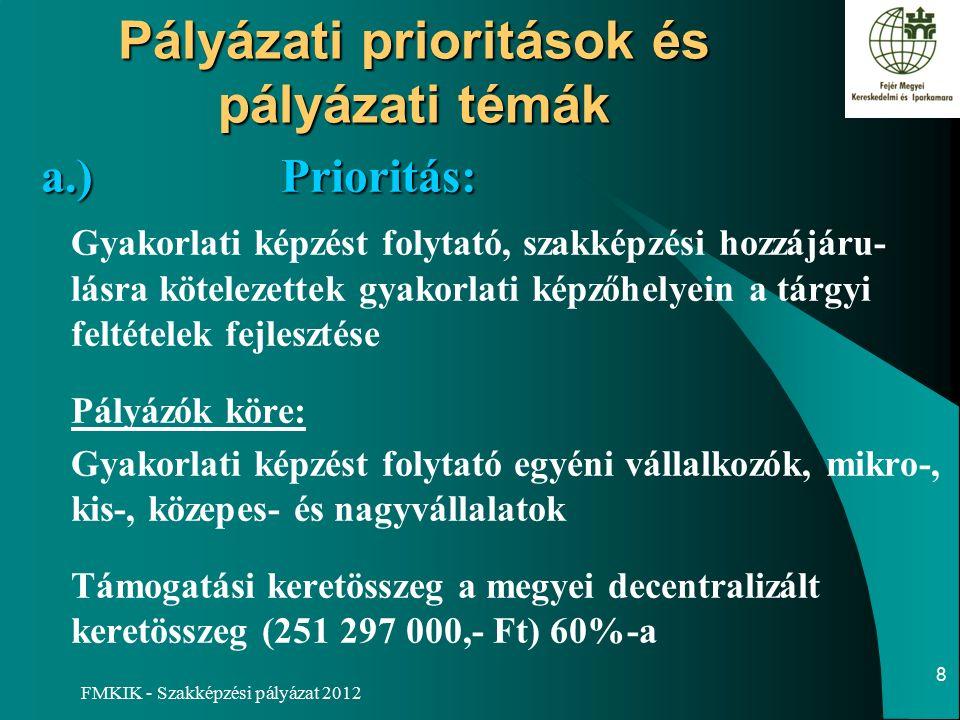 FMKIK - Szakképzési pályázat 2012 Pályázati prioritások és pályázati témák a.)Prioritás: Gyakorlati képzést folytató, szakképzési hozzájáru- lásra kötelezettek gyakorlati képzőhelyein a tárgyi feltételek fejlesztése Pályázók köre: Gyakorlati képzést folytató egyéni vállalkozók, mikro-, kis-, közepes- és nagyvállalatok Támogatási keretösszeg a megyei decentralizált keretösszeg (251 297 000,- Ft) 60%-a 8