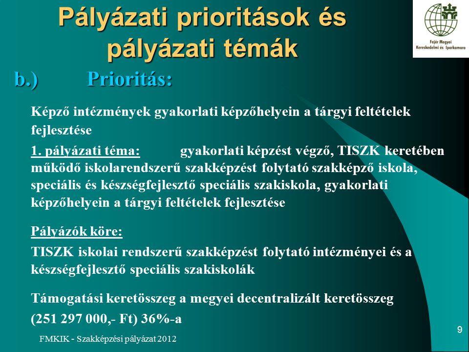 FMKIK - Szakképzési pályázat 2012 Pályázati prioritások és pályázati témák b.)Prioritás: b.)Prioritás: Képző intézmények gyakorlati képzőhelyein a tárgyi feltételek fejlesztése 1.