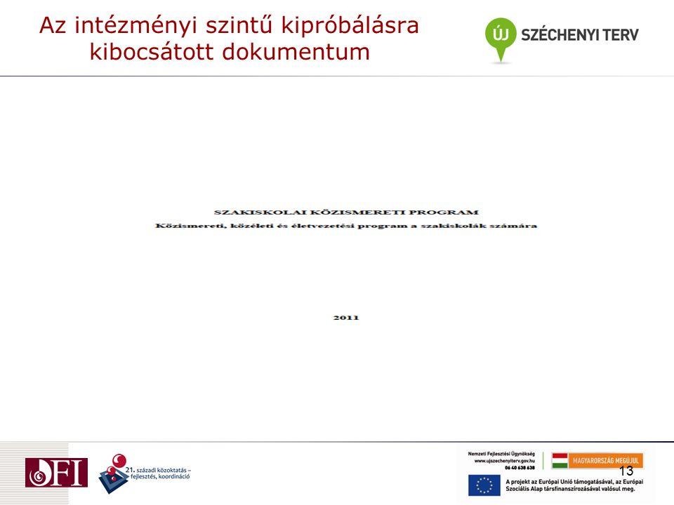Az intézményi szintű kipróbálásra kibocsátott dokumentum 13