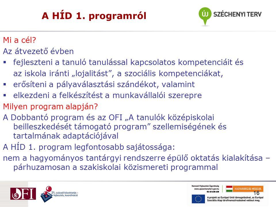 A HÍD 1. programról Mi a cél.