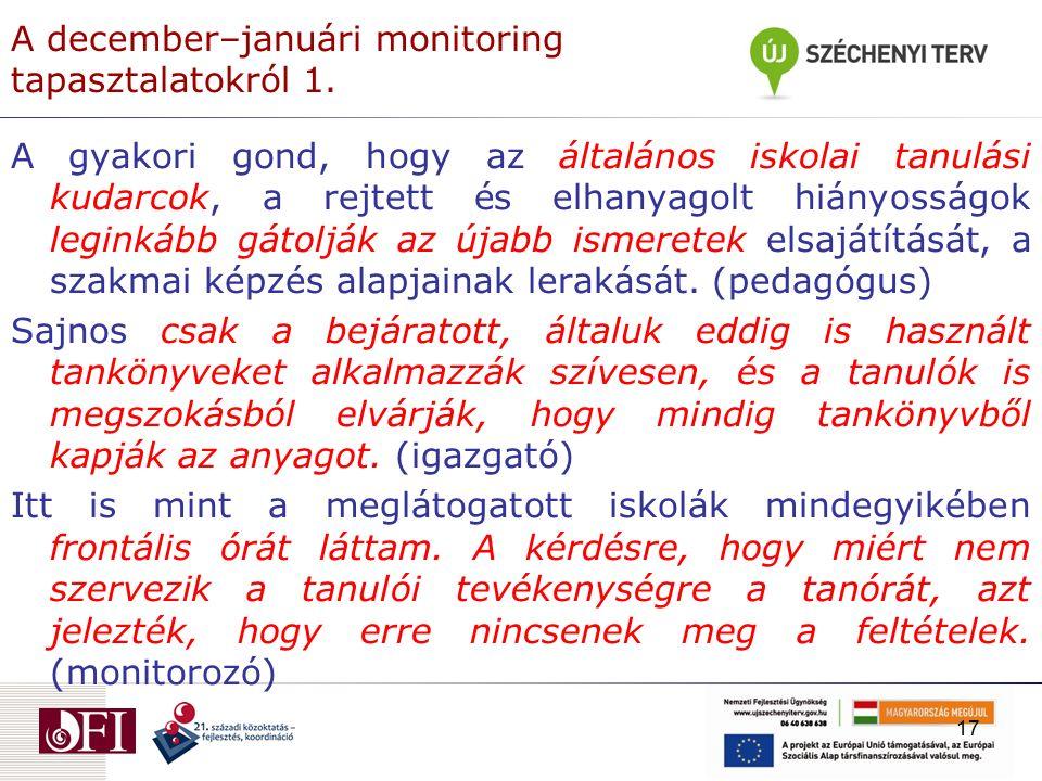 A december–januári monitoring tapasztalatokról 1.