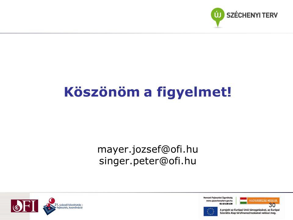 mayer.jozsef@ofi.hu singer.peter@ofi.hu Köszönöm a figyelmet! 30
