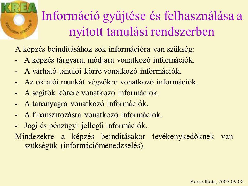 Információ gyűjtése és felhasználása a nyitott tanulási rendszerben A képzés beindításához sok információra van szükség: - A képzés tárgyára, módjára vonatkozó információk.