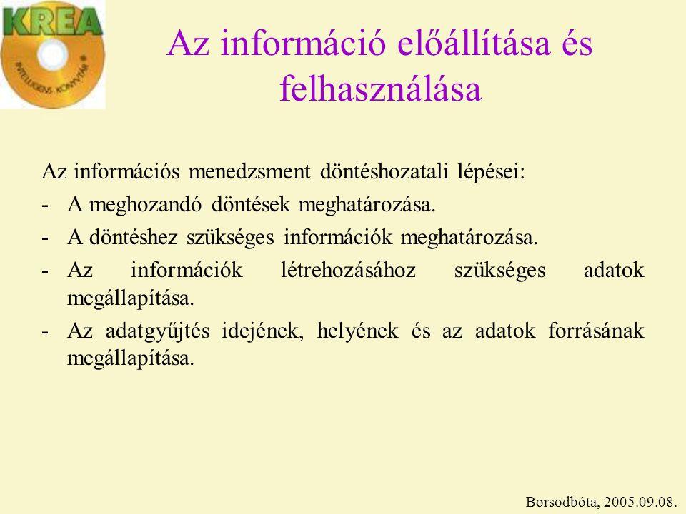 Az információ előállítása és felhasználása Az információs menedzsment döntéshozatali lépései: -A meghozandó döntések meghatározása.