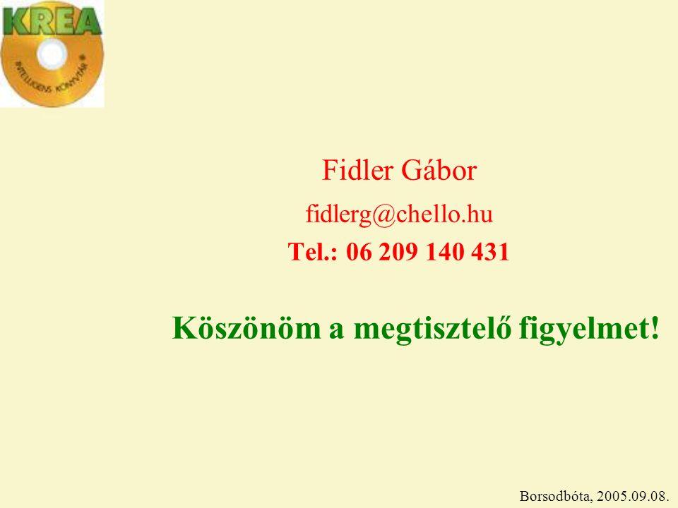 Fidler Gábor fidlerg@chello.hu Tel.: 06 209 140 431 Köszönöm a megtisztelő figyelmet.