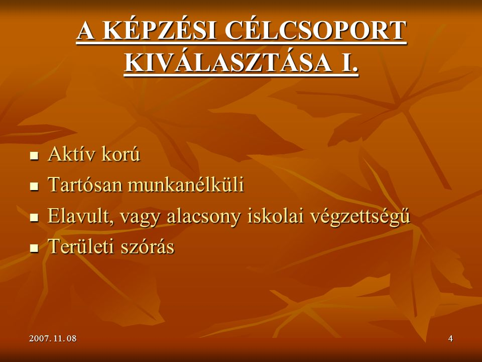 2007. 11. 084 A KÉPZÉSI CÉLCSOPORT KIVÁLASZTÁSA I.