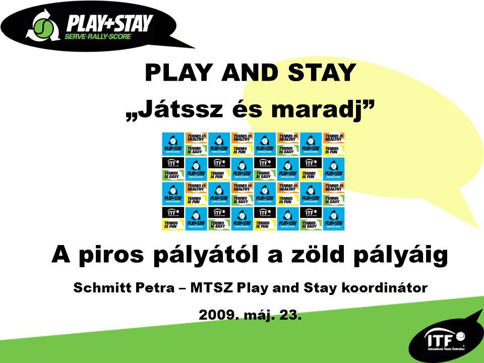 """PLAY AND STAY """"Játssz és maradj A piros pályától a zöld pályáig Schmitt Petra – MTSZ Play and Stay koordinátor 2009."""