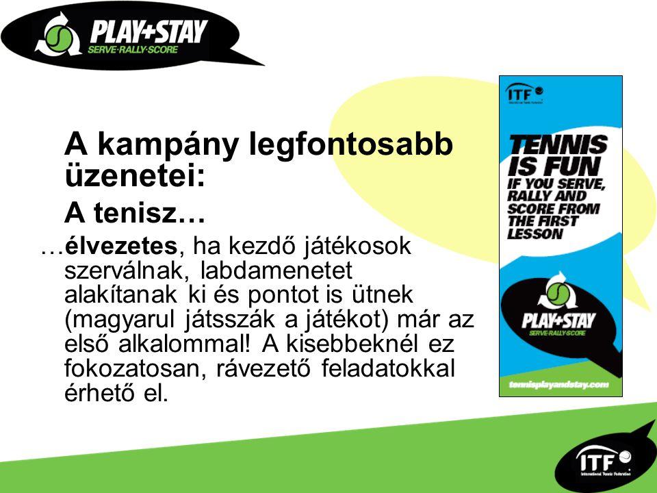 A kampány legfontosabb üzenetei: A tenisz… …élvezetes, ha kezdő játékosok szerválnak, labdamenetet alakítanak ki és pontot is ütnek (magyarul játsszák a játékot) már az első alkalommal.
