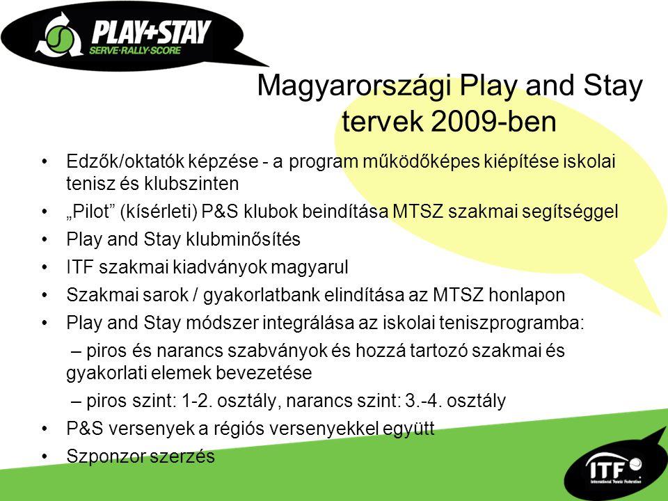 """Magyarországi Play and Stay tervek 2009-ben Edzők/oktatók képzése - a program működőképes kiépítése iskolai tenisz és klubszinten """"Pilot (kísérleti) P&S klubok beindítása MTSZ szakmai segítséggel Play and Stay klubminősítés ITF szakmai kiadványok magyarul Szakmai sarok / gyakorlatbank elindítása az MTSZ honlapon Play and Stay módszer integrálása az iskolai teniszprogramba: – piros és narancs szabványok és hozzá tartozó szakmai és gyakorlati elemek bevezetése – piros szint: 1-2."""
