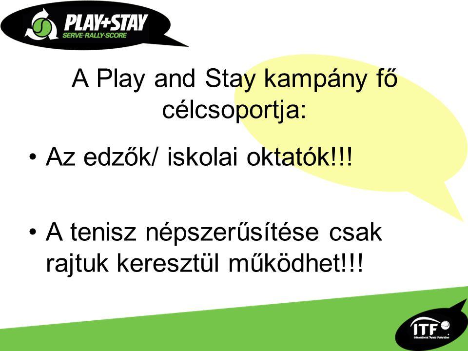 A Play and Stay kampány fő célcsoportja: Az edzők/ iskolai oktatók!!.