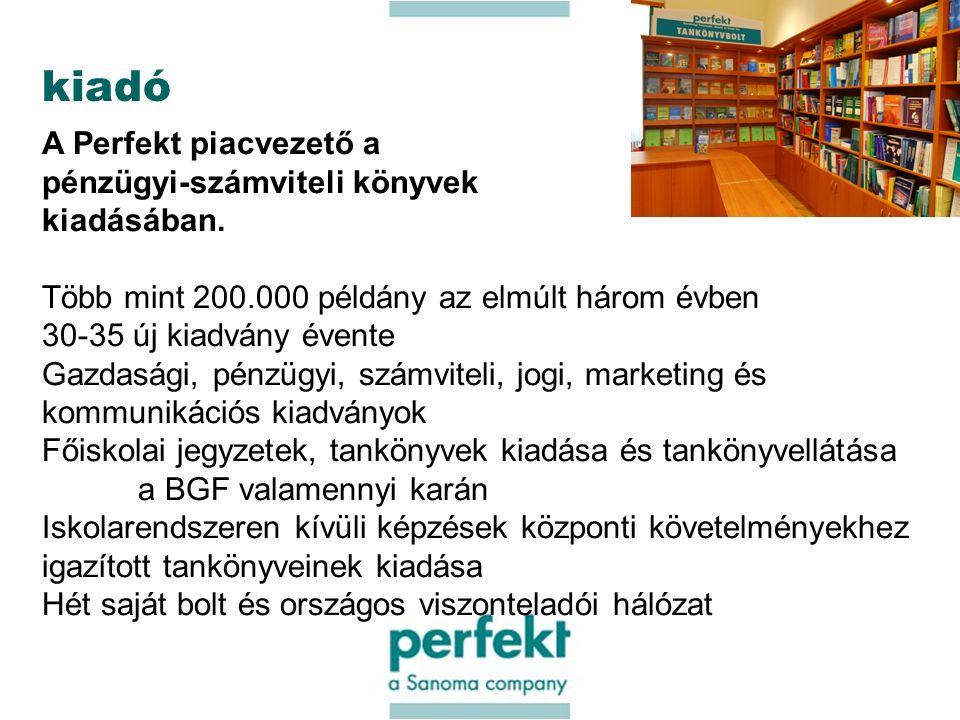 13 kiadó A Perfekt piacvezető a pénzügyi-számviteli könyvek kiadásában.