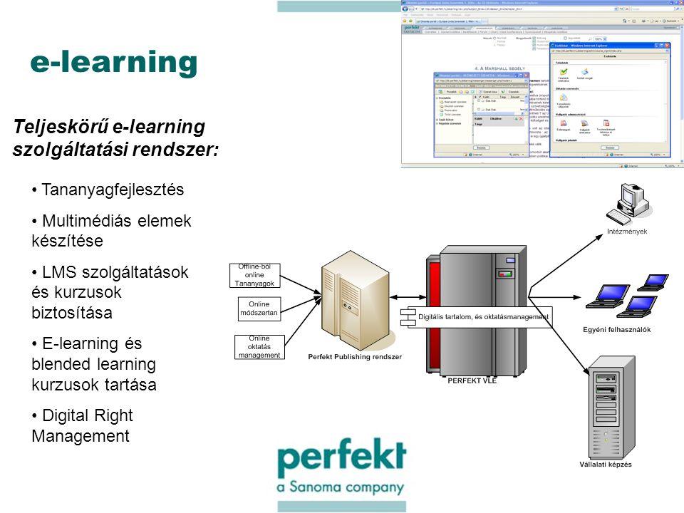 14 e-learning Teljeskörű e-learning szolgáltatási rendszer: Tananyagfejlesztés Multimédiás elemek készítése LMS szolgáltatások és kurzusok biztosítása E-learning és blended learning kurzusok tartása Digital Right Management