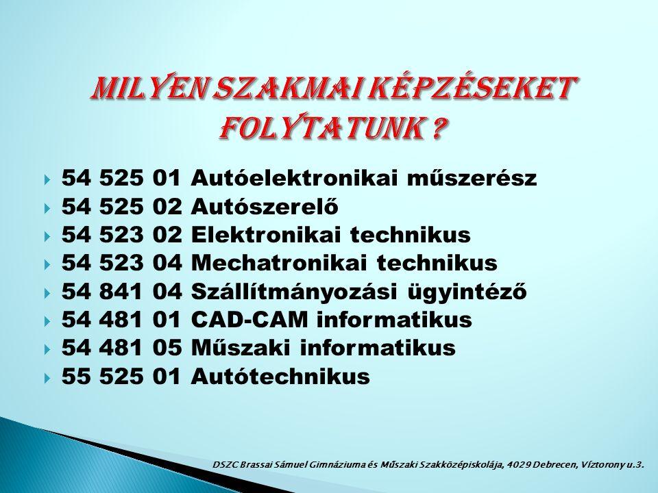  Honlap: www.brassai.huwww.brassai.hu  e-mail: brassai@brassai.hubrassai@brassai.hu  Telefon: 52/411-885 DSZC Brassai Sámuel Gimnáziuma és Műszaki Szakközépiskolája, 4029 Debrecen, Víztorony u.3.