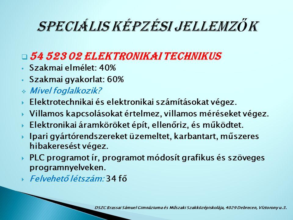  54 523 02 Elektronikai technikus  Szakmai elmélet: 40%  Szakmai gyakorlat: 60%  Mivel foglalkozik.