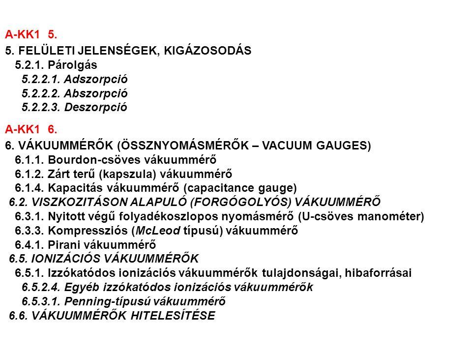 A-KK1 7.7. PARCIÁLISNYOMÁS-MÉRŐK (TÖMEGSPEKTROMÉTEREK) 7.3.