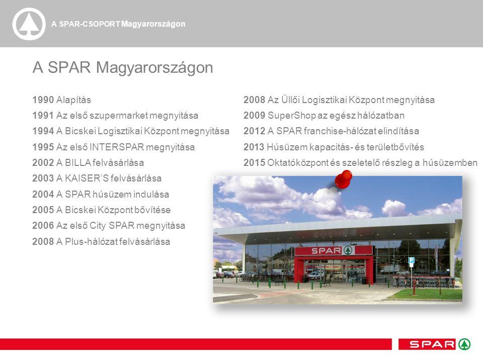 A SPAR Magyarországon 1990Alapítás 1991 Az első szupermarket megnyitása 1994A Bicskei Logisztikai Központ megnyitása 1995 Az első INTERSPAR megnyitása 2002A BILLA felvásárlása 2003A KAISER'S felvásárlása 2004A SPAR húsüzem indulása 2005A Bicskei Központ bővítése 2006Az első City SPAR megnyitása 2008A Plus-hálózat felvásárlása 2008Az Üllői Logisztikai Központ megnyitása 2009SuperShop az egész hálózatban 2012A SPAR franchise-hálózat elindítása 2013 Húsüzem kapacitás- és területbővítés 2015 Oktatóközpont és szeletelő részleg a húsüzemben A SPAR-CSOPORT Magyarországon